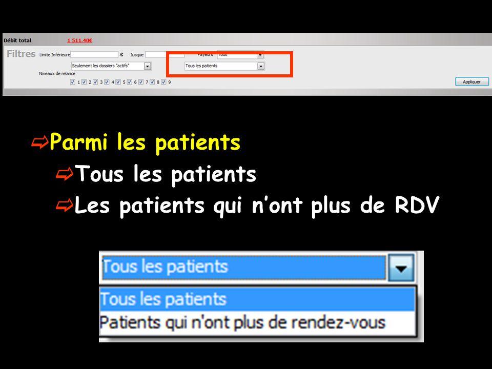 Parmi les patients Tous les patients Les patients qui nont plus de RDV