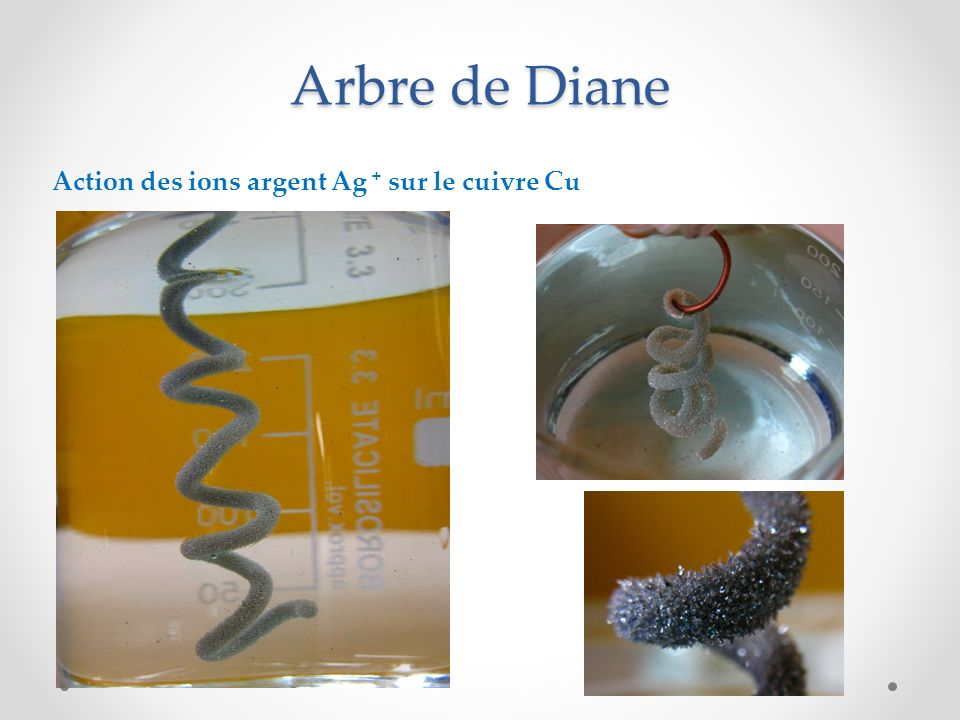 Arbre de Diane Action des ions argent Ag + sur le cuivre Cu