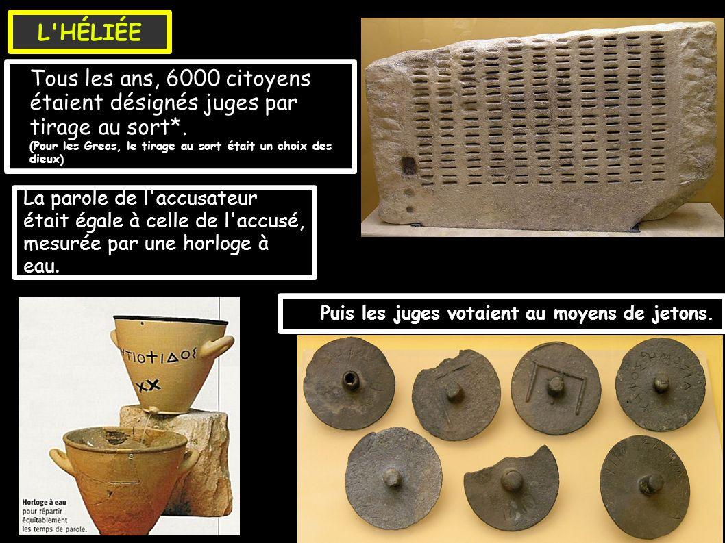 Tous les ans, 5OO citoyens devenaient bouleutes (menbre de la Boulé) par tirage au sort.