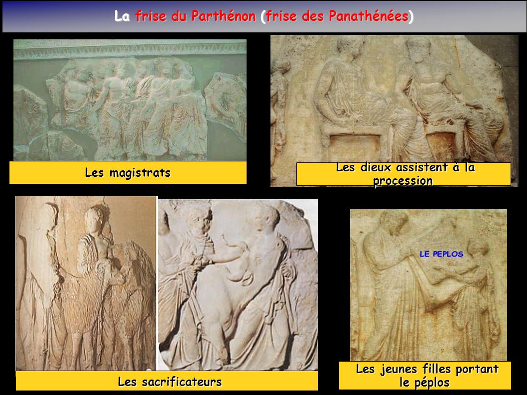 La frise du Parthénon (frise des Panathénées) les porteurs d offrandes les porteurs d offrandes (contenues dans des jarres) Les cavaliers Les cavaliers