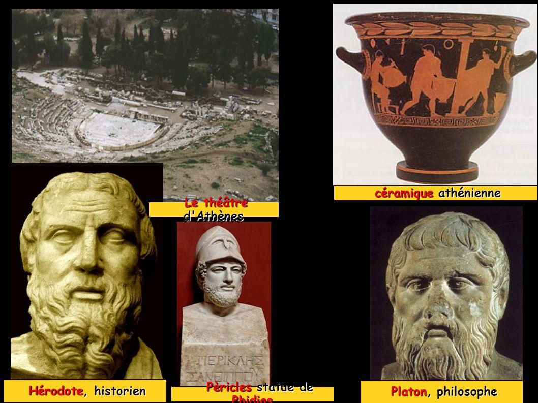 Les arts (sculpture, larchitecture et le théâtre) se développent à Athènes qui attire des artistes venus de tout le monde grec.