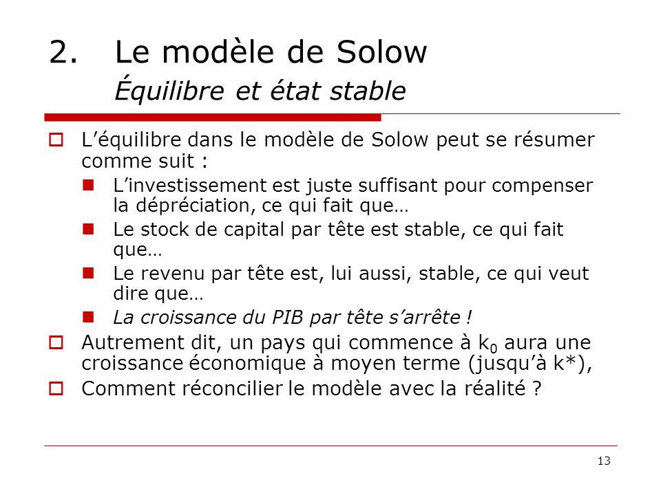 13 2.Le modèle de Solow Équilibre et état stable Léquilibre dans le modèle de Solow peut se résumer comme suit : Linvestissement est juste suffisant p