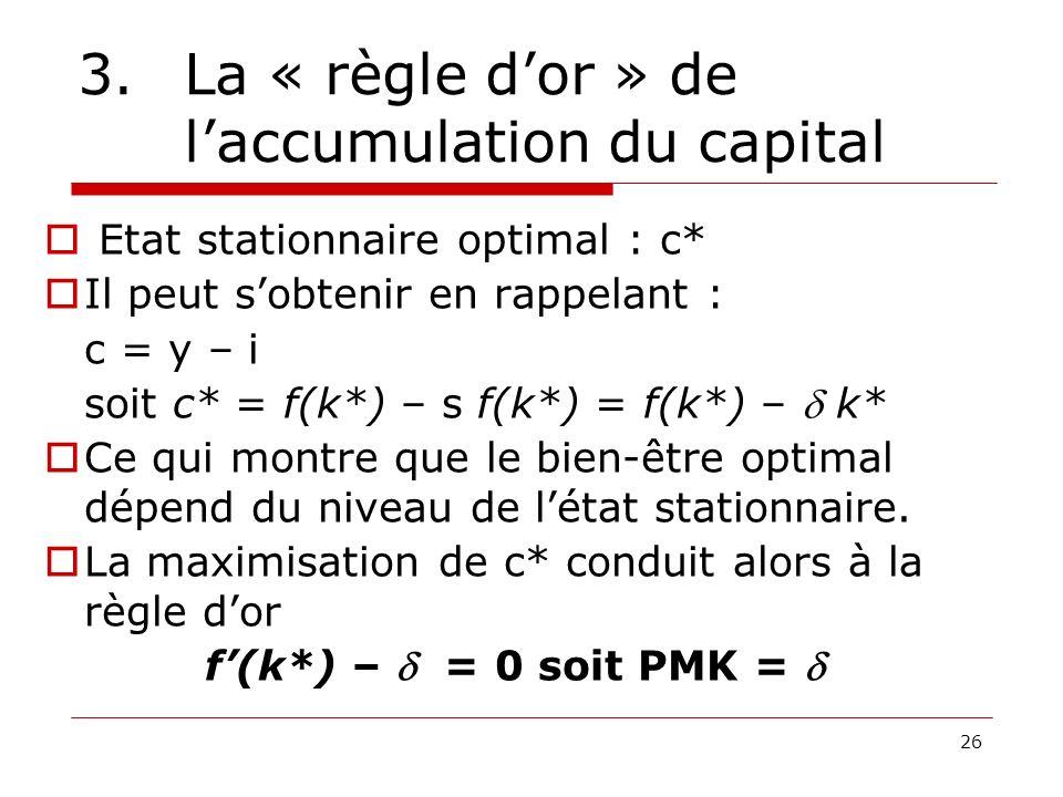 26 3.La « règle dor » de laccumulation du capital Etat stationnaire optimal : c* Il peut sobtenir en rappelant : c = y – i soit c* = f(k*) – s f(k*) =