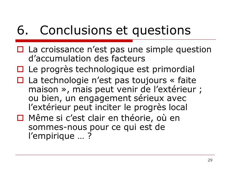 29 6.Conclusions et questions La croissance nest pas une simple question daccumulation des facteurs Le progrès technologique est primordial La technol