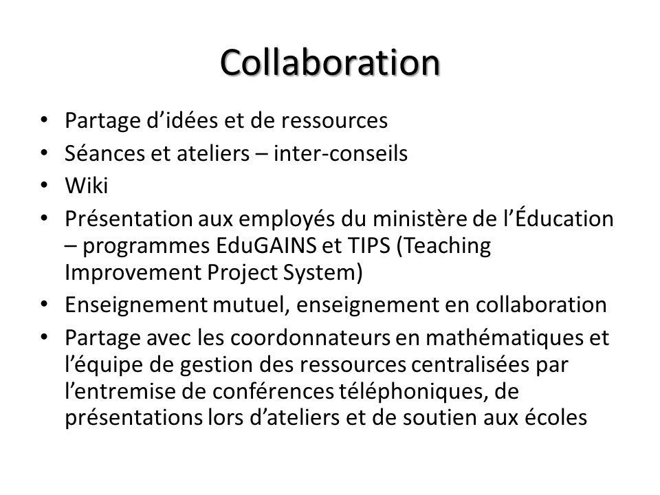 Collaboration Partage didées et de ressources Séances et ateliers – inter-conseils Wiki Présentation aux employés du ministère de lÉducation – program