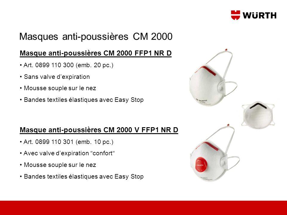 Masque anti-poussières CM 2000 FFP1 NR D Art. 0899 110 300 (emb. 20 pc.) Sans valve dexpiration Mousse souple sur le nez Bandes textiles élastiques av