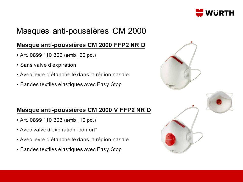 Masque anti-poussières CM 2000 FFP2 NR D Art. 0899 110 302 (emb. 20 pc.) Sans valve dexpiration Avec lèvre détanchéité dans la région nasale Bandes te