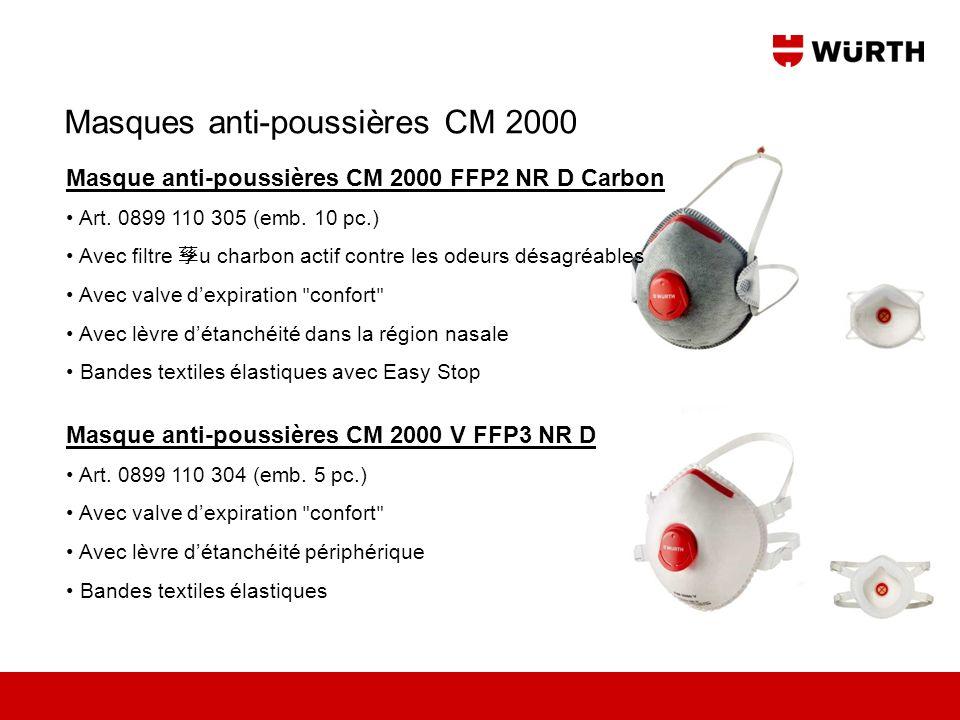 Masques anti-poussières CM 2000 Masque anti-poussières CM 2000 V FFP3 NR D Art. 0899 110 304 (emb. 5 pc.) Avec valve dexpiration