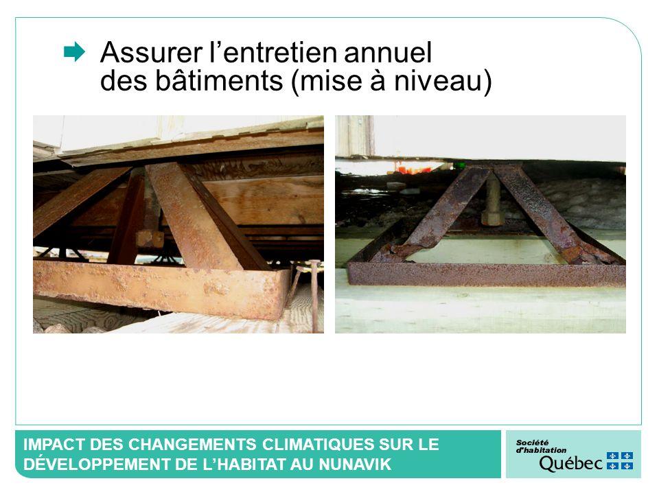 IMPACT DES CHANGEMENTS CLIMATIQUES SUR LE DÉVELOPPEMENT DE LHABITAT AU NUNAVIK Assurer lentretien annuel des bâtiments (mise à niveau)