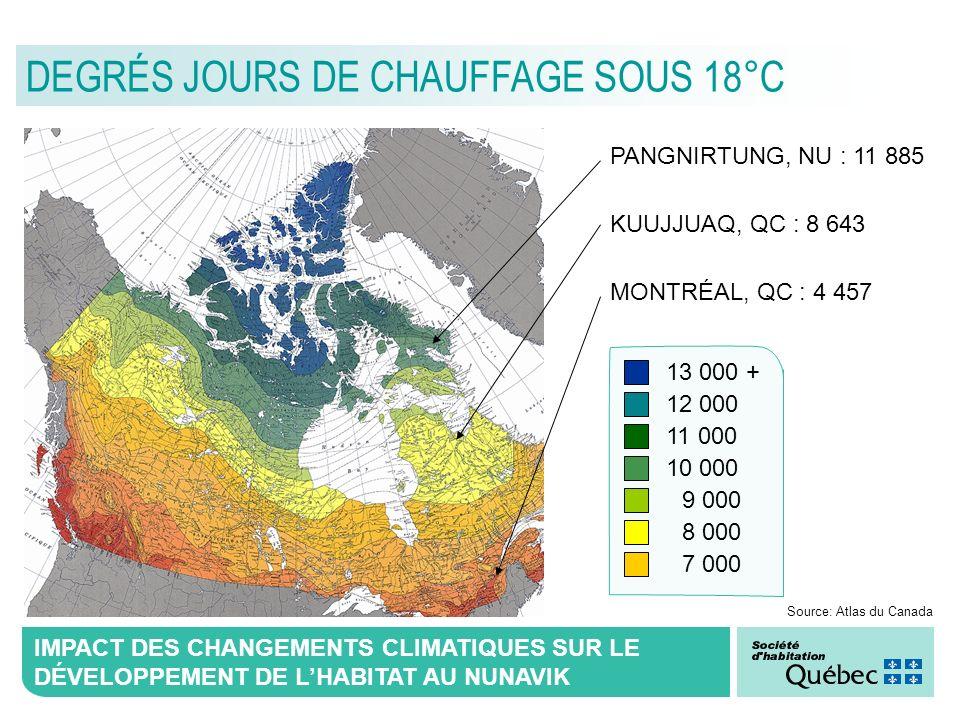 IMPACT DES CHANGEMENTS CLIMATIQUES SUR LE DÉVELOPPEMENT DE LHABITAT AU NUNAVIK DEGRÉS JOURS DE CHAUFFAGE SOUS 18°C PANGNIRTUNG, NU : 11 885 KUUJJUAQ,