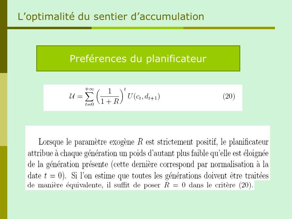 Loptimalité du sentier daccumulation Preférences du planificateur