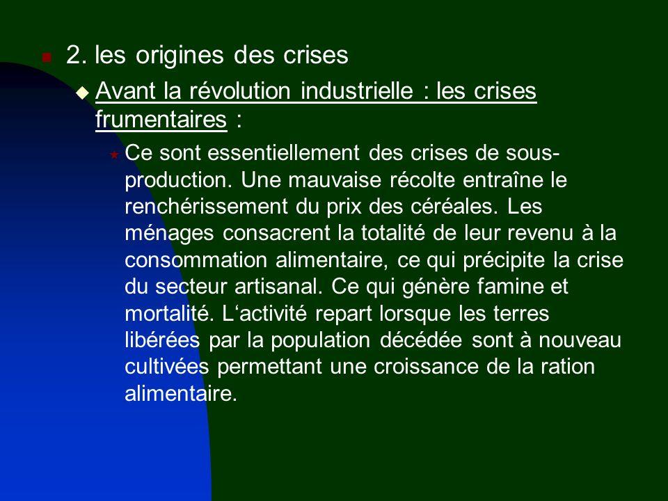 2. les origines des crises Avant la révolution industrielle : les crises frumentaires : Ce sont essentiellement des crises de sous- production. Une ma