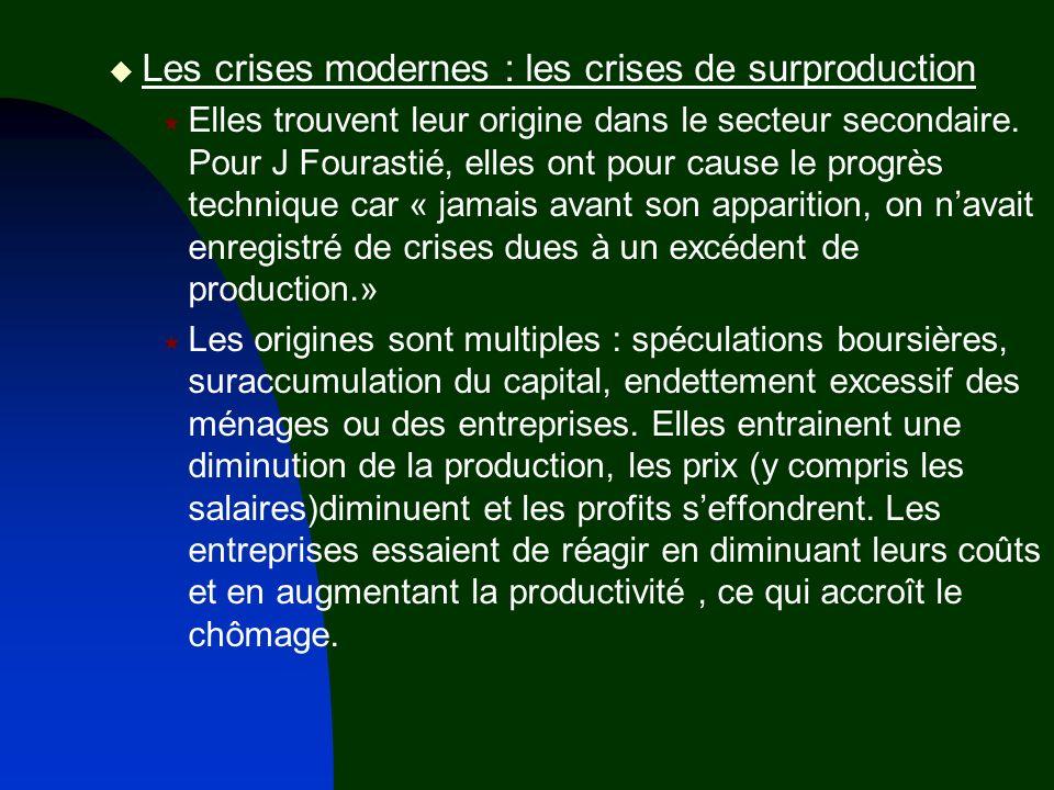 Les crises modernes : les crises de surproduction Elles trouvent leur origine dans le secteur secondaire. Pour J Fourastié, elles ont pour cause le pr