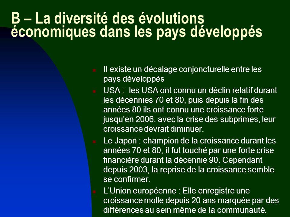 B – La diversité des évolutions économiques dans les pays développés Il existe un décalage conjoncturelle entre les pays développés USA : les USA ont