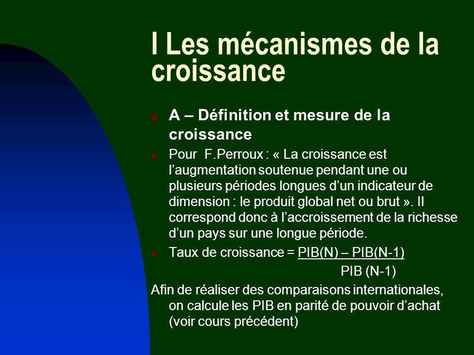 I Les mécanismes de la croissance A – Définition et mesure de la croissance Pour F.Perroux : « La croissance est laugmentation soutenue pendant une ou