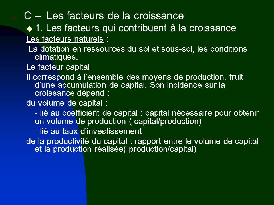 C – Les facteurs de la croissance 1. Les facteurs qui contribuent à la croissance Les facteurs naturels : La dotation en ressources du sol et sous-sol