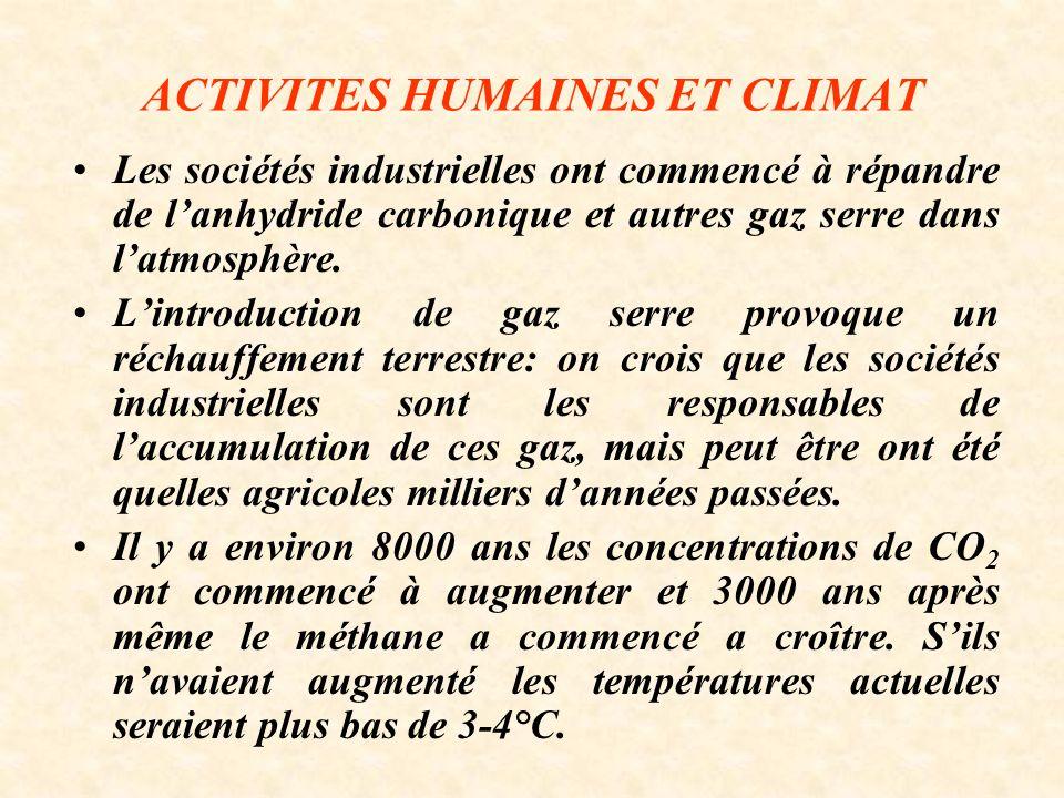 ACTIVITES HUMAINES ET CLIMAT Les sociétés industrielles ont commencé à répandre de lanhydride carbonique et autres gaz serre dans latmosphère.