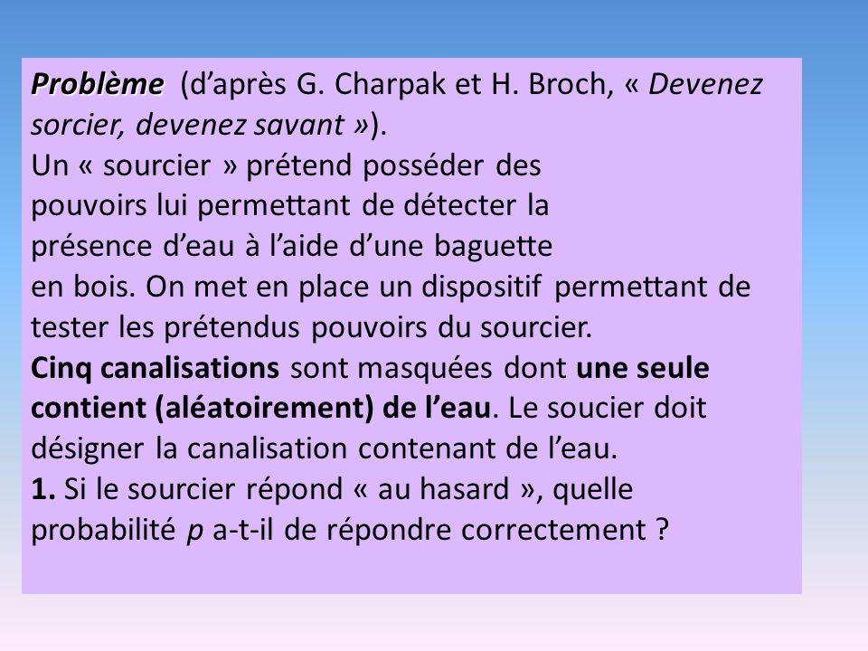 Problème Problème (daprès G.Charpak et H. Broch, « Devenez sorcier, devenez savant »).