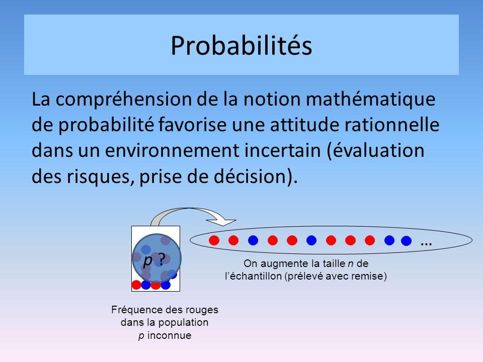 Probabilités La compréhension de la notion mathématique de probabilité favorise une attitude rationnelle dans un environnement incertain (évaluation des risques, prise de décision).