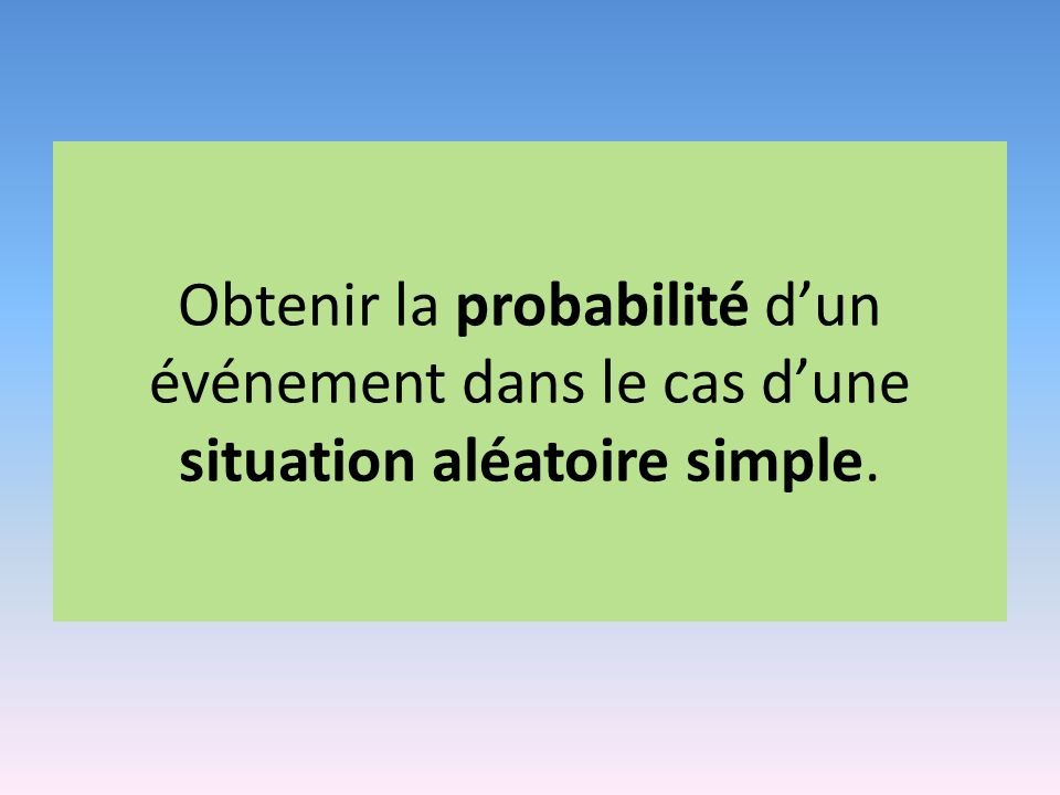 Obtenir la probabilité dun événement dans le cas dune situation aléatoire simple.