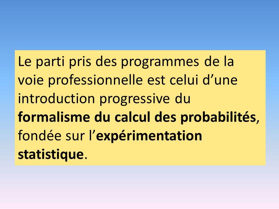 Le parti pris des programmes de la voie professionnelle est celui dune introduction progressive du formalisme du calcul des probabilités, fondée sur lexpérimentation statistique.