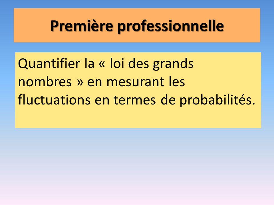 Première professionnelle Quantifier la « loi des grands nombres » en mesurant les fluctuations en termes de probabilités.