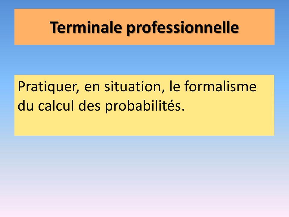 Terminale professionnelle Pratiquer, en situation, le formalisme du calcul des probabilités.