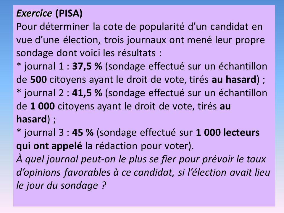 Exercice Exercice (PISA) Pour déterminer la cote de popularité dun candidat en vue dune élection, trois journaux ont mené leur propre sondage dont voici les résultats : * journal 1 : 37,5 % (sondage effectué sur un échantillon de 500 citoyens ayant le droit de vote, tirés au hasard) ; * journal 2 : 41,5 % (sondage effectué sur un échantillon de 1 000 citoyens ayant le droit de vote, tirés au hasard) ; * journal 3 : 45 % (sondage effectué sur 1 000 lecteurs qui ont appelé la rédaction pour voter).
