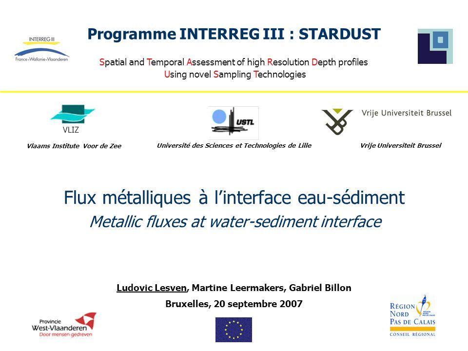 INTERREG III : STARDUST Introduction Bruxelles, 20 septembre 2007 La plupart des études menées in situ révèlent le rôle primordial des sédiments dans le cycle biogéochimique des métaux : ils constituent des sites privilégiés pour l accumulation de ces éléments.
