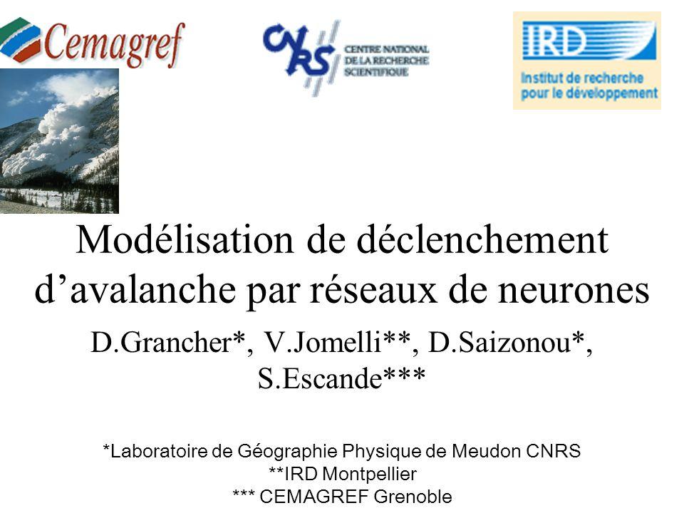 Modélisation de déclenchement davalanche par réseaux de neurones D.Grancher*, V.Jomelli**, D.Saizonou*, S.Escande*** *Laboratoire de Géographie Physiq