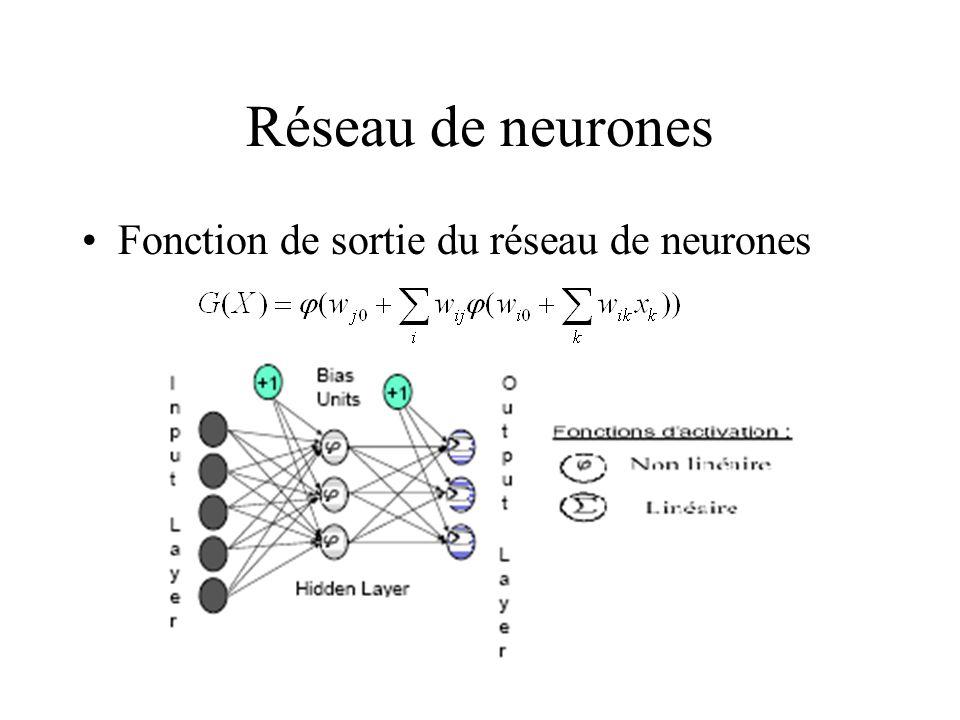 Réseau de neurones Fonction de sortie du réseau de neurones