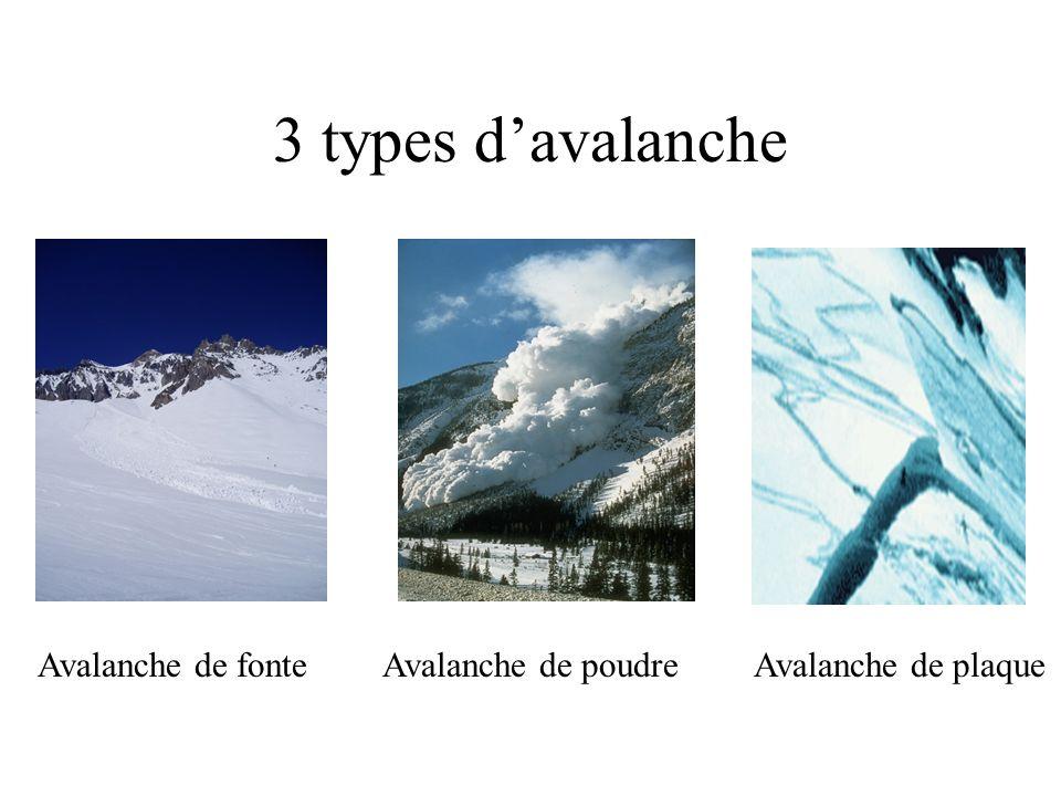 Avalanche de fonteAvalanche de poudreAvalanche de plaque 3 types davalanche