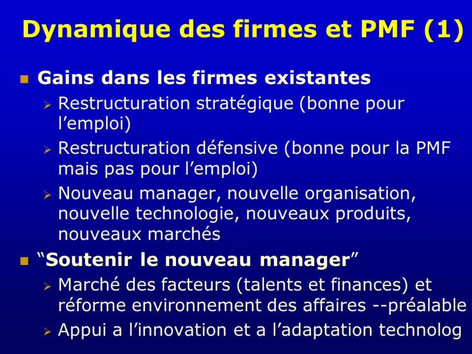 Dynamique des firmes et PMF (1) Gains dans les firmes existantes Restructuration stratégique (bonne pour lemploi) Restructuration défensive (bonne pou
