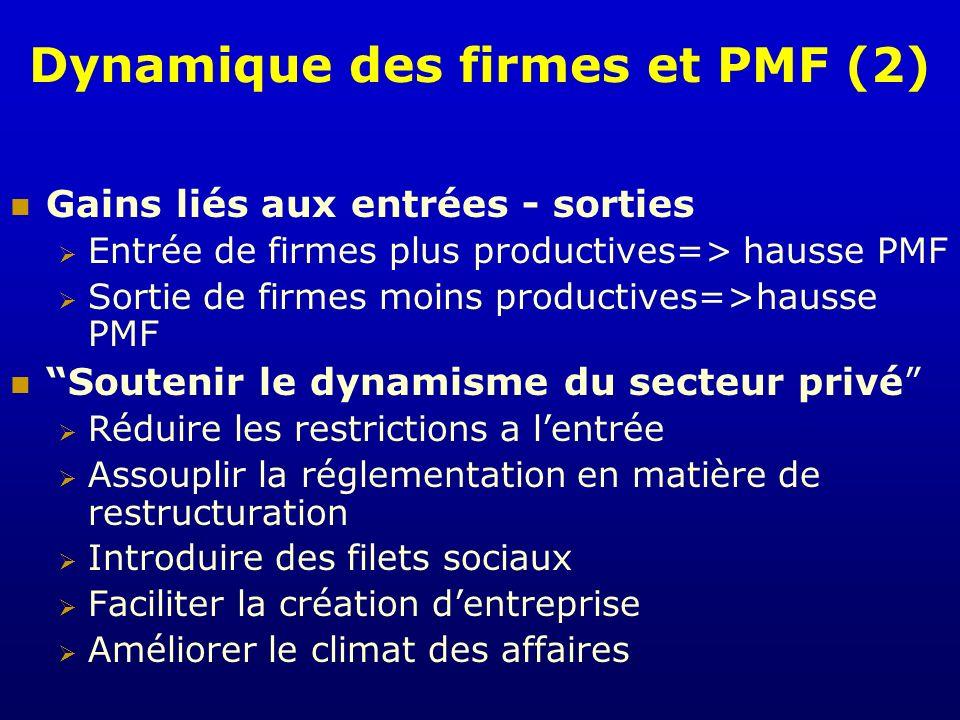 Dynamique des firmes et PMF (2) Gains liés aux entrées - sorties Entrée de firmes plus productives=> hausse PMF Sortie de firmes moins productives=>ha