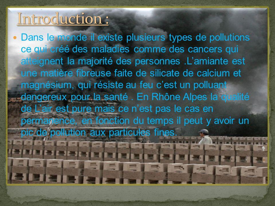 Dans le monde il existe plusieurs types de pollutions ce qui créé des maladies comme des cancers qui atteignent la majorité des personnes.Lamiante est