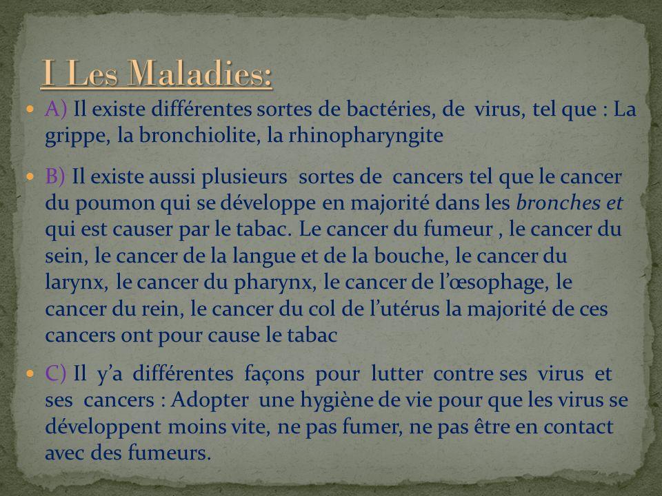 A) Il existe différentes sortes de bactéries, de virus, tel que : La grippe, la bronchiolite, la rhinopharyngite B) Il existe aussi plusieurs sortes de cancers tel que le cancer du poumon qui se développe en majorité dans les bronches et qui est causer par le tabac.