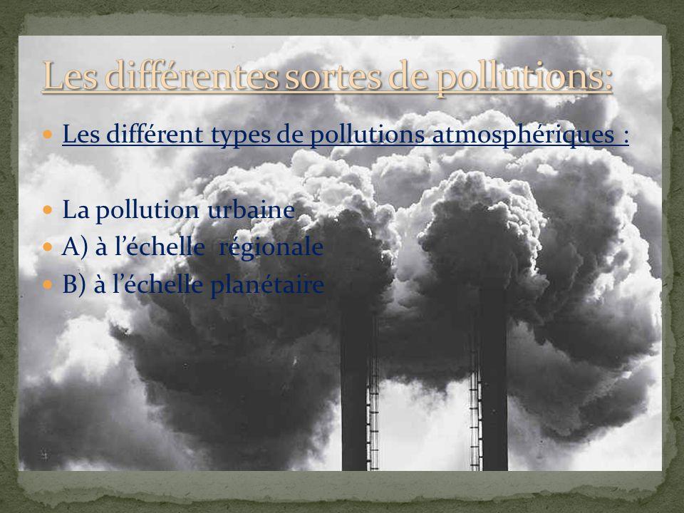 Les différent types de pollutions atmosphériques : La pollution urbaine A) à léchelle régionale B) à léchelle planétaire