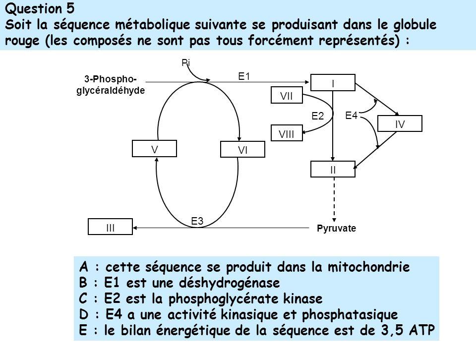 Question 5 Soit la séquence métabolique suivante se produisant dans le globule rouge (les composés ne sont pas tous forcément représentés) : E3 E2 Pyruvate E1 E4 3-Phospho- glycéraldéhyde I II IV III Pi V VI VII VIII A : cette séquence se produit dans la mitochondrie B : E1 est une déshydrogénase C : E2 est la phosphoglycérate kinase D : E4 a une activité kinasique et phosphatasique E : le bilan énergétique de la séquence est de 3,5 ATP