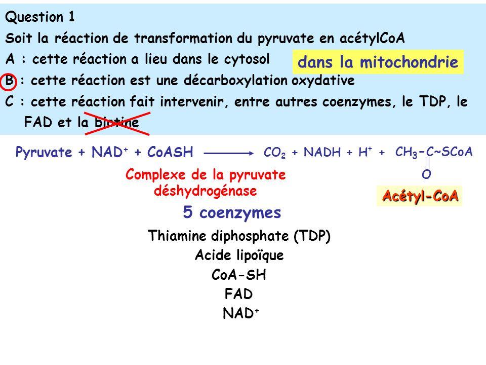 Question 1 Soit la réaction de transformation du pyruvate en acétylCoA A : cette réaction a lieu dans le cytosol B : cette réaction est une décarboxylation oxydative C : cette réaction fait intervenir, entre autres coenzymes, le TDP, le FAD et la biotine dans la mitochondrie Complexe de la pyruvate déshydrogénase Pyruvate + NAD + + CoASH CO 2 + NADH + H + + CH 3 - C~SCoA O Acétyl-CoA Thiamine diphosphate (TDP) Acide lipoïque CoA-SH FAD NAD + 5 coenzymes