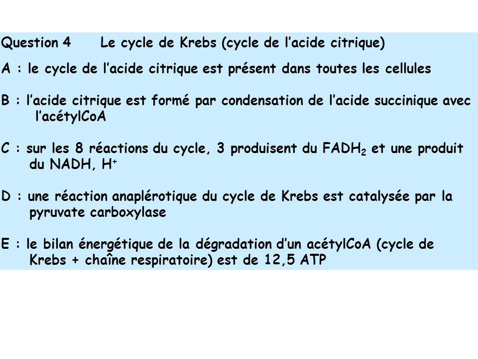 Question 4 Le cycle de Krebs (cycle de lacide citrique) A : le cycle de lacide citrique est présent dans toutes les cellules B : lacide citrique est formé par condensation de lacide succinique avec lacétylCoA C : sur les 8 réactions du cycle, 3 produisent du FADH 2 et une produit du NADH, H + D : une réaction anaplérotique du cycle de Krebs est catalysée par la pyruvate carboxylase E : le bilan énergétique de la dégradation dun acétylCoA (cycle de Krebs + chaîne respiratoire) est de 12,5 ATP