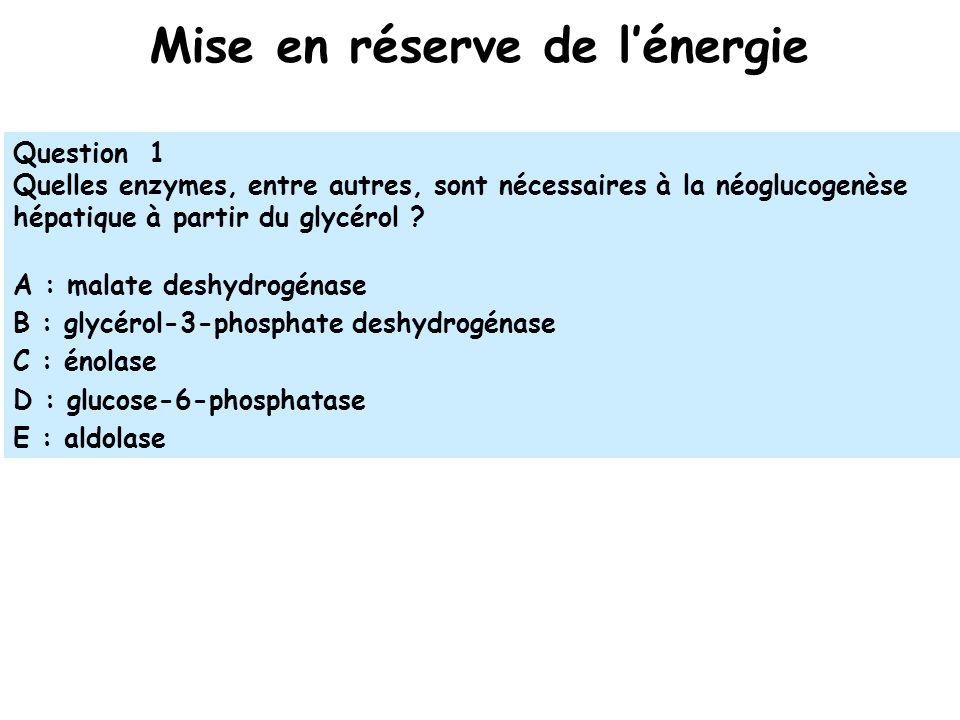 Mise en réserve de lénergie Question 1 Quelles enzymes, entre autres, sont nécessaires à la néoglucogenèse hépatique à partir du glycérol .