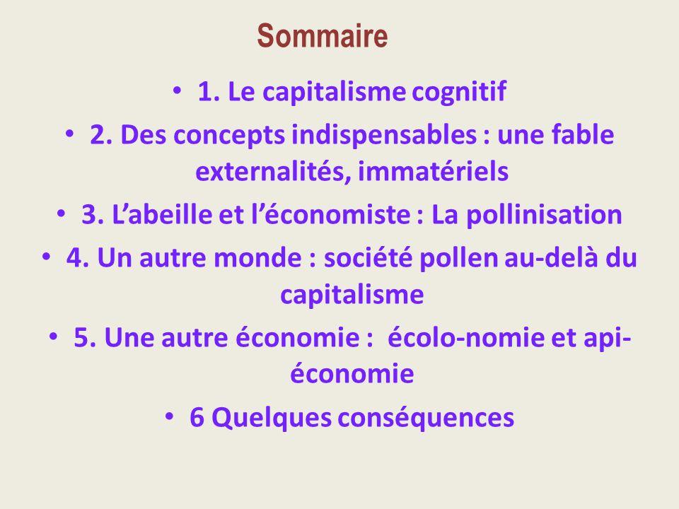 Sommaire 1. Le capitalisme cognitif 2. Des concepts indispensables : une fable externalités, immatériels 3. Labeille et léconomiste : La pollinisation