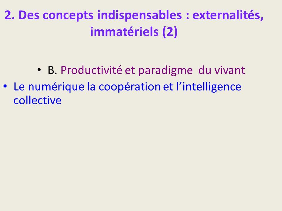 2. Des concepts indispensables : externalités, immatériels (2) B. Productivité et paradigme du vivant Le numérique la coopération et lintelligence col