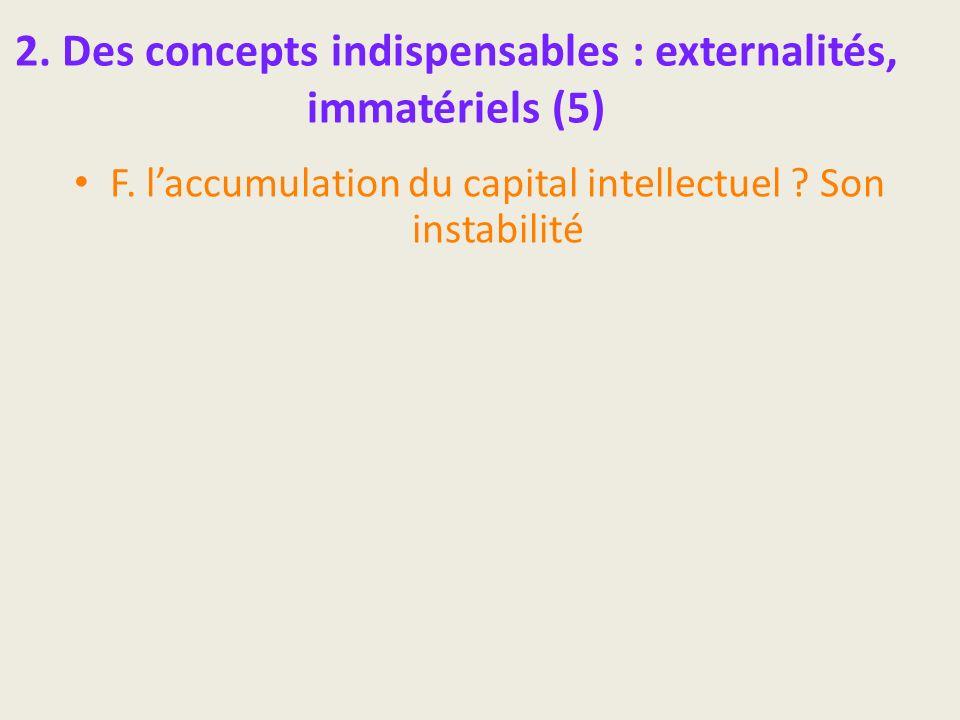 2. Des concepts indispensables : externalités, immatériels (5) F. laccumulation du capital intellectuel ? Son instabilité