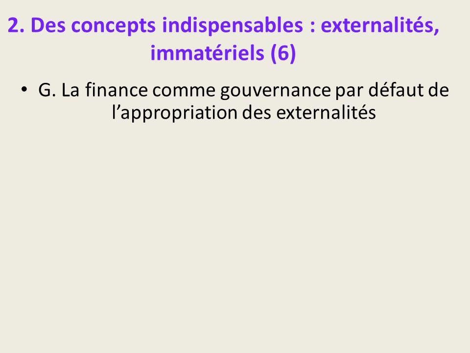 2. Des concepts indispensables : externalités, immatériels (6) G. La finance comme gouvernance par défaut de lappropriation des externalités