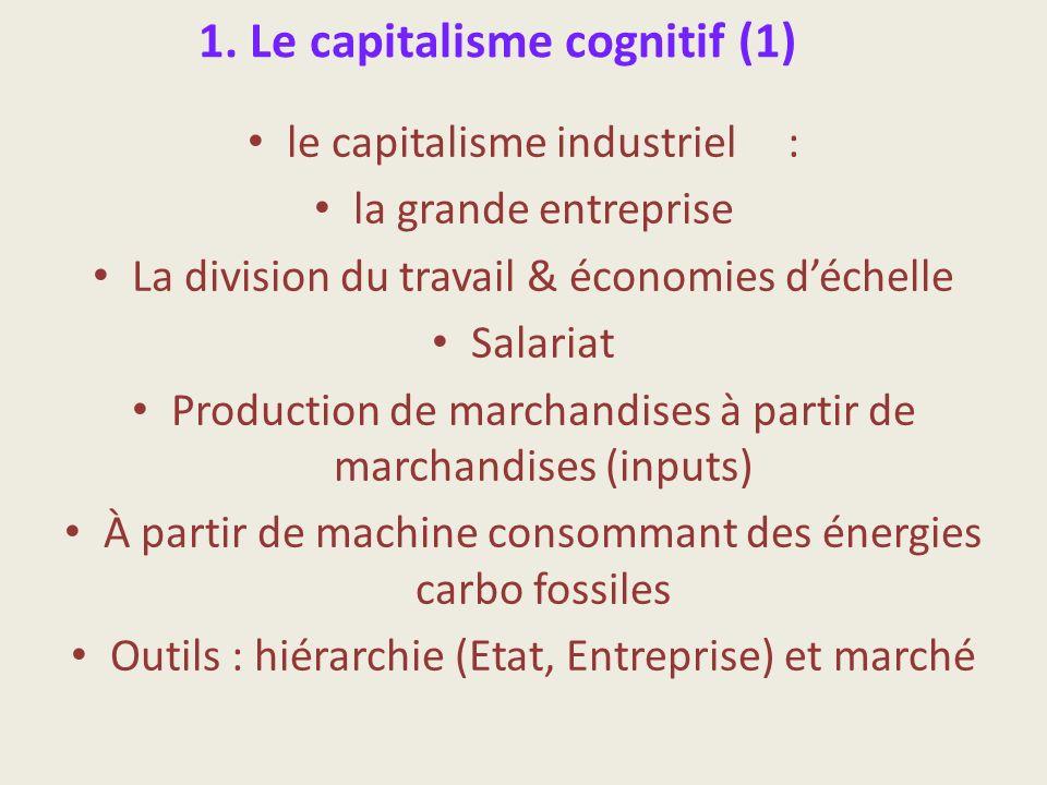 1. Le capitalisme cognitif (1) le capitalisme industriel : la grande entreprise La division du travail & économies déchelle Salariat Production de mar