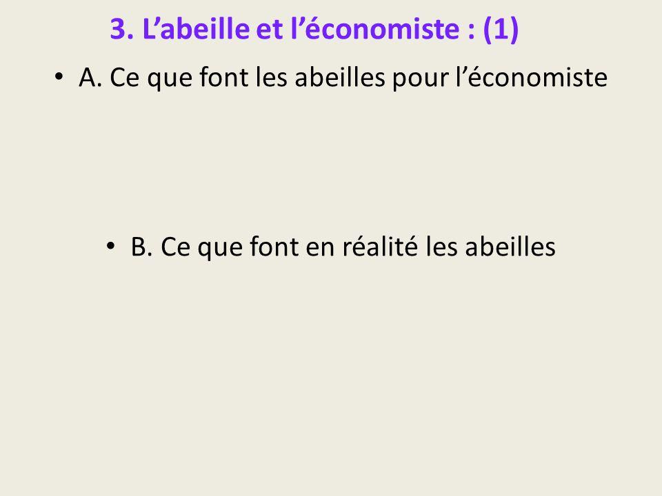 3. Labeille et léconomiste : (1) A. Ce que font les abeilles pour léconomiste B. Ce que font en réalité les abeilles