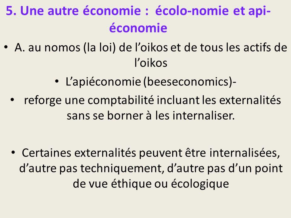 5. Une autre économie : écolo-nomie et api- économie A. au nomos (la loi) de loikos et de tous les actifs de loikos Lapiéconomie (beeseconomics)- refo