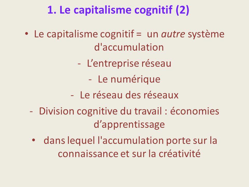 1. Le capitalisme cognitif (2) Le capitalisme cognitif = un autre système d'accumulation -Lentreprise réseau -Le numérique -Le réseau des réseaux -Div