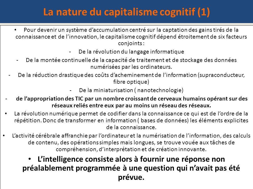 La nature du capitalisme cognitif (1) Pour devenir un système daccumulation centré sur la captation des gains tirés de la connaissance et de linnovati